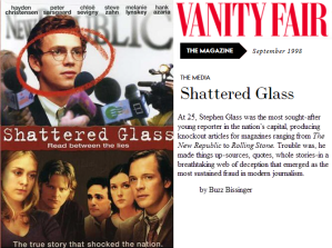 Shattered Glass - DVD Cover and Vanity Fair Header