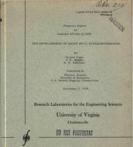 Zippe at UVA - Development of Short Bowl Ultra Centrifuges